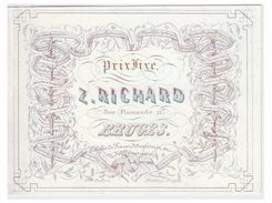 Carte Porcelaine Lithographiée (19e S.) / Porseleinkaart /Bruges/  Z.RICHARD --RUE FLAMANDE 11-- MERCERIE - Brugge