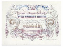 Carte Porcelaine Lithographiée (19e S.) / Porseleinkaart /Bruges/  MME VAN RENTERCHEM-CLICTEUR --DENTELLES - Brugge