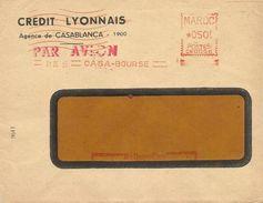 """Maroc Morocco 1955 Casablanca Bourse Credit Lyonnais Havas """"CW"""" 0056 EMA Meter Cover - Marokko (1891-1956)"""
