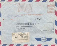 """Maroc Morocco 1955 Casablanca Bourse Havas """"C"""" 4204 EMA Meter Registered Cover - Brieven En Documenten"""