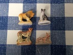 4 Feves Mates Serie Les Felins : Le Lion, La Panthere Des Neiges, Le Serval, Le Guepard - Animals