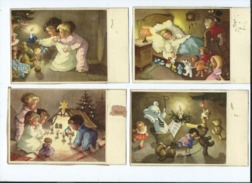 4 Cartes Fantaisies Noël Abîmées :illustrateurs Monique Martin,jouets , Jouet , Jeux Enfants, Poupées , Oursons  Crèches - Speelgoed & Spelen