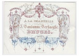 "Carte Porcelaine Lithographiée (19e S) / Porseleinkaart /Bruges/ ESTAMINET RESTAURANT "" A LA CHANDELLE "" - Brugge"
