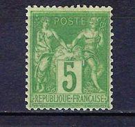 "FR YT 102 "" Sage 5c. Vert-jaune "" Neuf* - 1898-1900 Sage (Type III)"