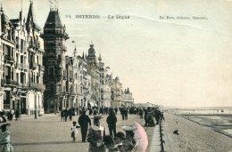 BELGIUM - La Digue - Good Animation Etc   - Ostende  - UK LEEDS Postmark 1912 - Oostende