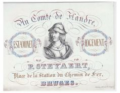 "Carte Porcelaine Lithographiée (19e S) / Porseleinkaart /Bruges/ ESTAMINET LOGEMENT ""AU COMTE DE FLANDRE"" - Brugge"
