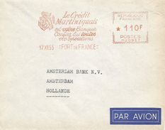 "Martinique 1955 Fort De France Lion Heraldy Credit Martiniquais Lion Meter Franking Havas ""MG"" 0957 EMA Cove - Martinique (1886-1947)"