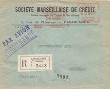 """Maroc Morocco 1955 Casablanca SMC Havas """"MG"""" 1360 EMA Meter Registered Cover - Brieven En Documenten"""