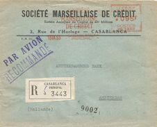 "Maroc Morocco 1955 Casablanca SMC Havas ""MG"" 1360 EMA Meter Registered Cover - Marokko (1891-1956)"