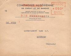 """Maroc Morocco 1956 Casablanca Comp. Algerienne Havas """"MG"""" 0186 EMA Meter Cover - Brieven En Documenten"""