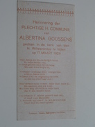 Albertina GOOSSENS Kerk H. Willebrordus Te NIJLEN Den 17 Maart 1929 ( Zie Foto's ) ! - Communion