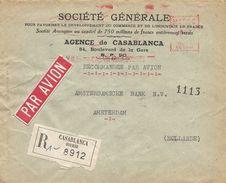 """Maroc Morocco 1955 Casablanca Bourse Satas """"SC"""" 0485 EMA Meter Registered Cover - Marokko (1891-1956)"""