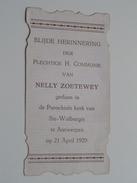 Nelly ZOETEWEY Parochiale Kerk Van Ste Walburgis Antwerpen 21 April 1929 ( Zie Foto's ) ! - Communion