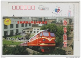 Electric Railway Train Locomotive,China 2005 Jilin Locomotive Depot Advertising Postal Stationery Card - Trenes