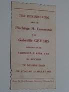Gabriëlle GEVERS Parochiale Kerk Van St. Rochus Te DEURNE-ZUID Op 25 Maart 1928 ( Zie Foto's ) ! - Communion