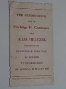 JULIA HELTZEL Parochiale Kerk Van St. ROCHUS Te DEURNE-ZUID Op 25 Maart 1928 ( Zie Foto's ) ! - Communion
