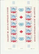 ST PIERRE ET MIQUELON - N° 487 A  -EN PAIRE AVEC VIGNETTE -FEUILE DE 5  -JO CALGARY- ANNEE 1988 - COTE : 36,50 € - St.Pierre & Miquelon