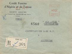"""Tunisie Tunisia 1955 Tunis Havas """"CG"""" 3126 EMA Meter Registered Cover - Tunesië (1888-1955)"""