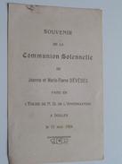 Jeanne Et Marie-Pierre DEVEDEC (Dévédec) En L'Eglise De N.D. De L'Annonciation à IXELLES Le 11 Mai 1924 ( Zie Foto's ) ! - Communion