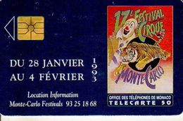 TELECARTE 50 UNITES MONACO FESTIVAL INTERNATIONAL DU CIRQUE DE MONTE CARLO - Monaco
