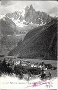 CHAMONIX MONT-BLANC 74 HAUTE-SAVOIE J.J. 2823 VALLEE DE CHAMONIX VILLAGE DES PRAZ ET AIGUILLE DES DRUS ECRITE CIRCULEE - Chamonix-Mont-Blanc