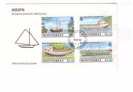FDC Montserrat Boats Built In Montserrat Ships Designed Boat Ship Bateau Bateaux 4 Timbres - Montserrat