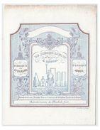 """Carte Porcelaine Lithographiée (19e S) / Porseleinkaart /BRUGGE/ DE JONCHE-LONCIN """" VINS LIQUEURS CHOCOLATS FINS"""" - Brugge"""