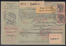 DR Paketkarte Mif Minr.4x 71, 2x 76 Chemnitz 4.7.04 Gel. In Schweiz - Briefe U. Dokumente