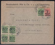 DR Brief Mif Minr.5x 308,309 Bpst. 9.10.23 Gel. Nach England - Deutschland
