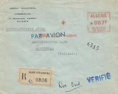 """Algerie Algeria 1956 Alger-Strasbourg Havas """"MG"""" 5360 EMA Meter Registered Cover - Algerije (1924-1962)"""