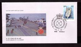 FDC Inde 1986 Silver Jubilée INS Vikrant Porte Avions Avion Helicoptere - FDC