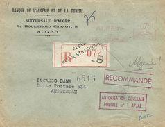 "Algerie Algeria 1952 Alger-Strasbourg Havas Winged ""G"" 4499 EMA Meter Registered Cover - Algerije (1924-1962)"