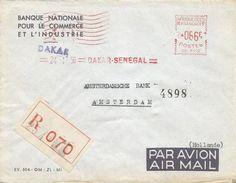 """Senegal AOF 1956 Dakar Satas """"SD"""" 3112 EMA Meter Registered Cover - A.O.F. (1934-1959)"""