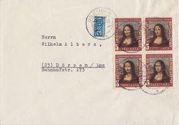 Bund Brief Mef Minr.4x 148 Emden 22.8.52  4er Block - BRD