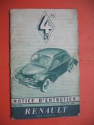 Notice D'entretien RENAULT 4 CV Août 1955 - Auto's