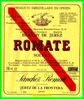 ETIQUETA  BODEGAS  SANCHEZ ROMATE  JEREZ DE LA FRONTERA - Etiquetas