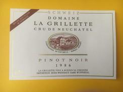 5147 - Pinot Noir 1986 Domaine De La Grillette Neuchâtel Suisse - Etiquettes