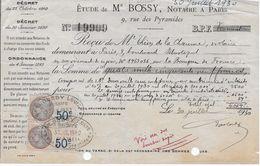 Vieux Papiers : Reçu Notaire Me Bossy Paris 30-07-1930 Avec 9 Timbres Fiscaux - Fiscaux