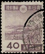 Japan Scott # 342, 40s Dark Violet  (1944) Garambi Lighthouse (Taiwan), Used - 1926-89 Emperor Hirohito (Showa Era)