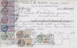 Vieux Papiers : Reçu Notaire Me Rafin Paris 10-01-1933 Avec 8 Timbres Fiscaux - Fiscaux