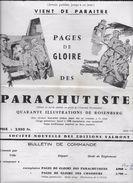 """Affichette D'intérieur Du Livre """"Pages De Gloire Des Parachutistes"""" 1959 Editions VALMONT - Documents"""