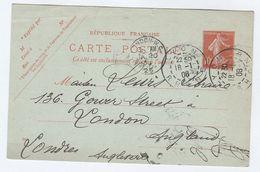 1908 FRANCE Postal  STATIONERY CARD MEDICAL BOOKSELLER Lyon To Gower Street London GB Cover Stamps Health Medicine - Medicine