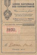"""UNION NATIONALE DES COMBATTANTS-""""UNIS COMME AU FRONT""""  PARIS  1930 - Cartes"""