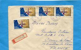 MARCOPHILIE-Lettre REC-Roumanie>Françe-cad 1965 -4 Stamps N°2095-Space- Ranger - Lettres & Documents