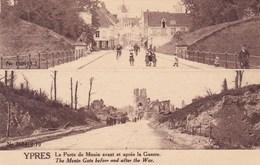 Ieper, Ypres, Ruines, Ruins, La Porte De Menin Avant Et Apres La Guerre (pk38265) - Ieper
