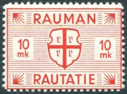 Finland 1945 10 Mk # 22 RAUMA Railway Parcel Freight Eisenbahn Paketmarke Frachtmarke Chemin De Fer Colis Rauman * Mint - Trains