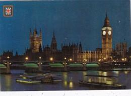 England London Big Ben Houses Of Parliament & River Thames At Ni
