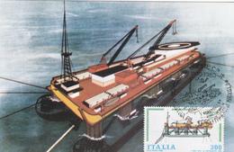 Carte-Maximum ITALIE N° Yvert 1463 (BATEAU POSE TUBES) Obl Sp Ill 1er Jour - Maximumkaarten