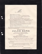 TOURNAI Jules BARA Ancien Ministre Député Sénateur 1835-1900 Faire-part Mortuaire Franc-maçon Franc-maçonnerie - Todesanzeige