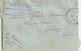ALBI CROIX-ROUGE FRANCAISE HOPITAL AUXILIAIRE N°102 LE VAGUEMESTRE CACHET MILITAIRE GUERRE RED-CROSS CASERNE 81 TARN - Postmark Collection (Covers)